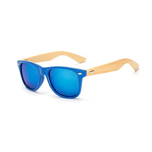 YTYASO Gafas de Sol de Madera Hombres Mujeres Cuadrado bambú Mujeres para Mujeres Hombres Espejo Gafas de Sol Hecho a Mano