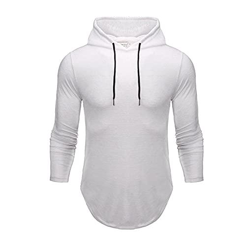 URIBAKY - Camicetta da uomo a maniche lunghe, casual, con cappuccio, tinta unita, per il tempo libero, bianco, XL
