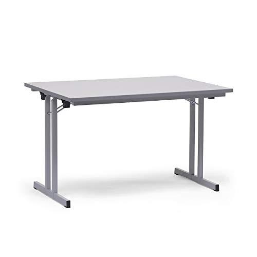 Certeo Klapptisch | HxBxT - 720 x 1200 x 800 mm | Extra starke rechteckige Platte | Gestell und Platte in lichtgrau | Klapptisch Mehrzwecktisch...