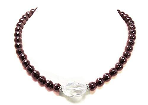 Kette Collier Edelsteinkette aus Granate mit einer Bergkristall-Perle