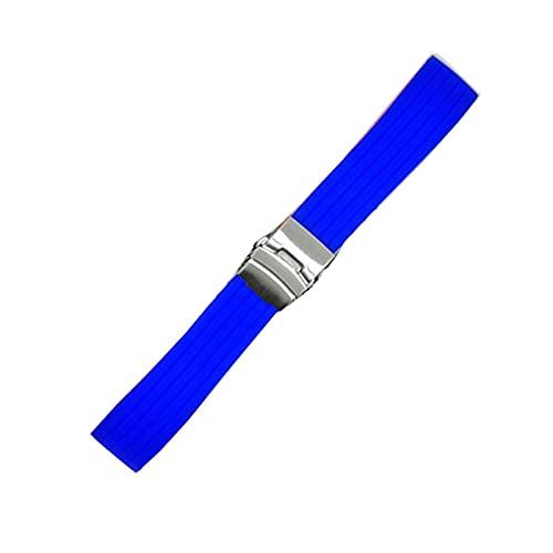 FETTR Correa de silicona deportiva de 18 mm, 20 mm, 22 mm, 24 mm, para hombres y mujeres, universal, impermeable, de goma, accesorios de pulsera (color: azul real, S, tamaño: 20 mm)