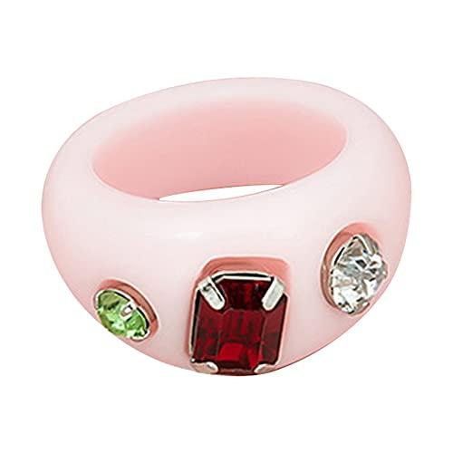 #N/D Anillo de resina para mujer, anillo de diamantes de dibujos animados, índice, anillo de dedo para todo el alrededor de la banda anillo de declaración de acrílico ancho
