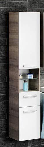 FACKELMANN Hochschrank A-VERO / gedämpfte Scharniere und Soft-Close-System / Maße (B x H x T): ca. 35 x 179 x 31,5 cm / hochwertiger Schrank fürs Badezimmer / Korpus: Braun hell / Front: Weiß