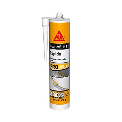 SIKA 143 Rapide, Colle-mastic à prise rapide avec maintien immédiat très élevé intérieur et extérieur, 290 ml, Blanc