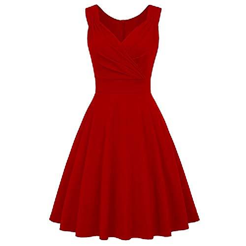 U/A Ärmelloses Retro-Kleid für Damen 50s Plus Size Abendkleid Sommer 2020