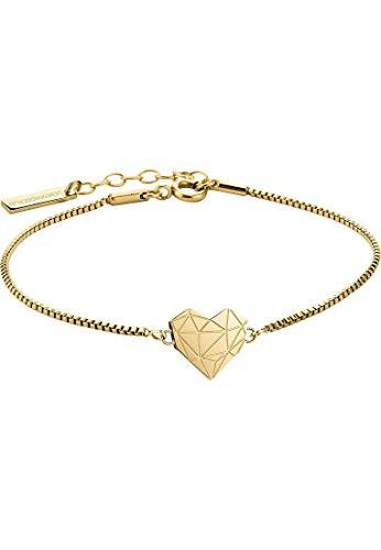 LIEBESKIND Damen Armband Herz Edelstahl Silber 20 cm (gold)