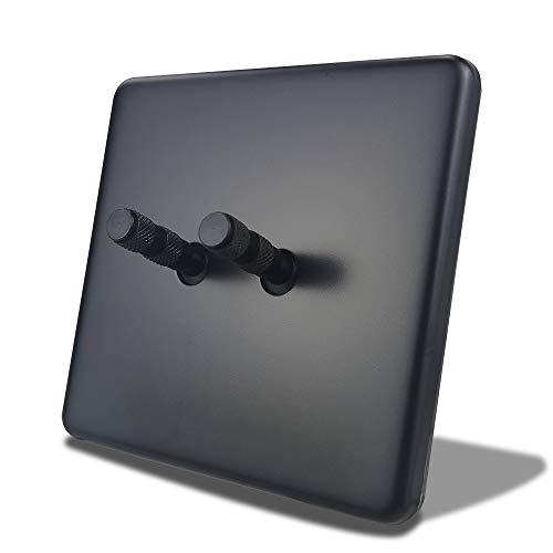 LifeX Type 86 Black 2 Gang 2 Way Interruptor De Palanca Doble Palanca Eléctrica Interruptor De Pared Panel De Metal Decoración Mejoras para El Hogar Estándar con Garras Fit Caja Redonda