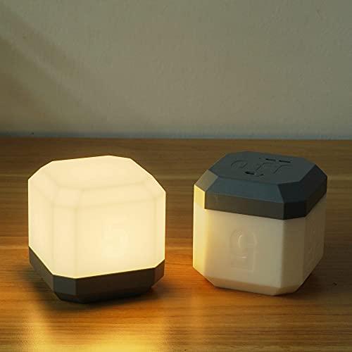 SOLLA 【Paquete de 2】 Luz Nocturna LED, Lámpara de Cabecera LED Recargable con Temporizador de Volteo, Luz Cálida de 3000K para Bebé, Niños, Dormitorio, Oficina, Camping