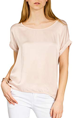 Caspar BLU017 leichte Elegante Damen Seidenglanz Kurzarm Sommer Shirtbluse, Farbe:rosa, Größe:XL/XXL