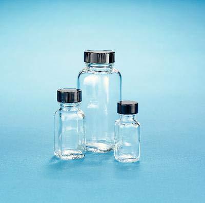 Kimble 5610843C-24 Glazen Frans Vierkante Fles met Dop, Witte Rubber Liner, Helder, 250ml Capaciteit (Case of 84)