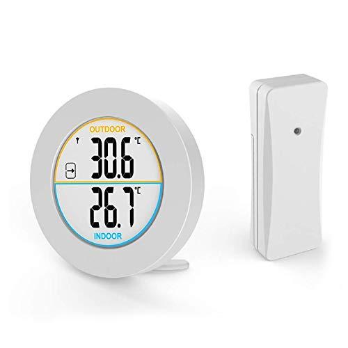 EXTSUD Digital Innen- und Außenthermometer, Funk Thermometer mit Außensensor, Innen Außentemperatur Monitor mit LCD Display, MIN/MAX-Aufzeichnungen, Trendtemperaturänderung, ℉/ ℃ Schalter, MEHRWEG