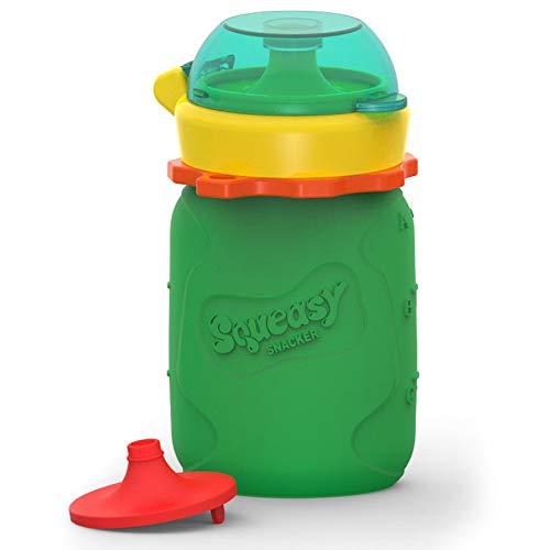 Squeasy Snacker, 100ml - Bolsa de Comida para Bebés Reutilizables | Para Batidos de Fruta Caseros, Yogurt y Zumos | Botella de Silicona, sin BPA (Verde)