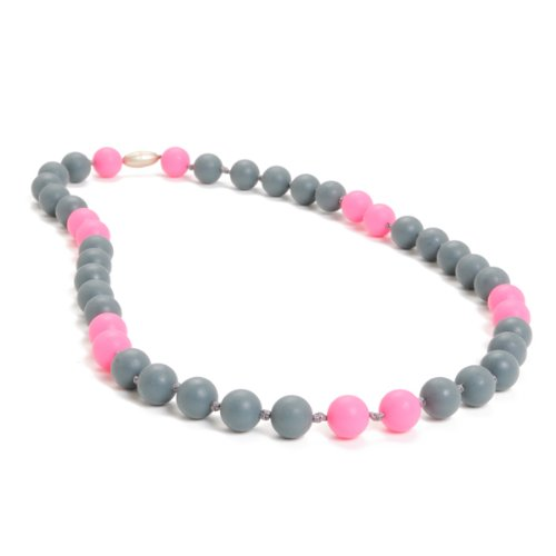 Chewbeads Waverly Teething Necklace, 100% Safe Silicone - Stormy Grey