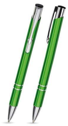 50er Set Metallkugelschreiber LIBO hellgrün mit gleicher Gravur u. einem Schlüsselanhänger von filzschneider® - personalisierte Kugelschreiber ideal für Hochzeiten/Werbegeschenk - auch mit Logo