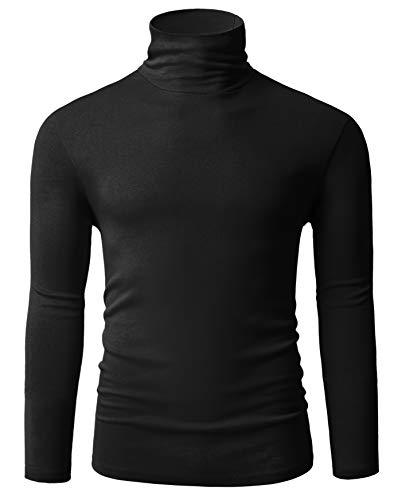 Fresca Mens Mock Turtleneck Pullover Tops Shirts Solid Color Slim Fit Soft Comfy Long Sleeve Stretchy Work Office Basic Designed Tee Black Medium