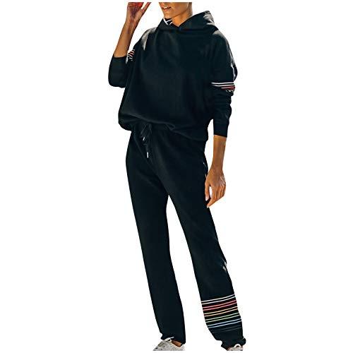 Damen-Trainingsanzug, Patchwork-Design, mit Kapuze, Freizeitanzug, Jogginganzug, Sport-Set, Oberteil und Hose Gr. 50, Schwarz