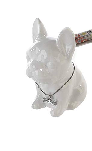 Laure TERRIER Ceramic Piggy Bank. French Bulldog Comics White Model. Height 3,5 inches