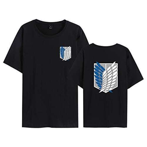 Maglietta Attack on Titan per Uomo Donna Bambino, 3D Shingeki No Kyojin Scout Regiment Wings of Liberty Badge Anime Cosplay Moda Stampa T Shirt Manica Corta Tee Maglia Shirt Camicia Tops (BA,3XL)