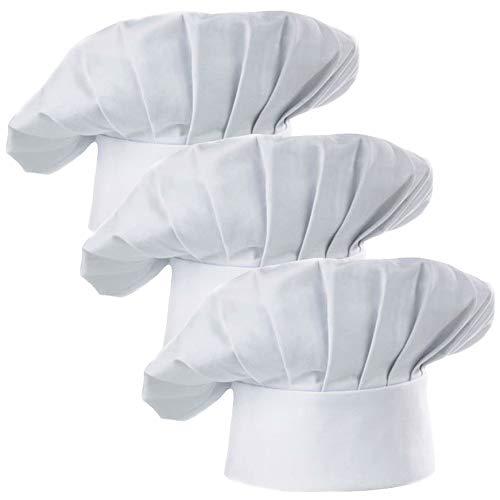 Hyzrz Chef Hat Set of 3 Pack Adult Adjustable Elastic Baker Kitchen Cooking Chef Cap, White