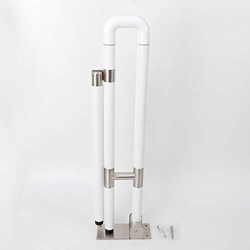 WC Aufstehhilfe Toiletten Stützklappgriff Wandstützgriff Stützhilfe Sicherheits Haltegriff Hochklappbar Sicherheitsgestelle Für Toiletten Wandmontage (60cm, Weiß)