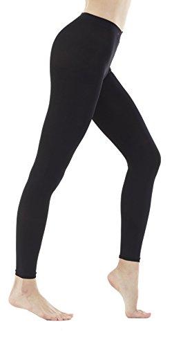 Women's 150 Denier Thick Footless Tights Pantyhose (Black - 2Pair, M/L)