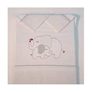 10XDIEZ Juego de sábanas Cuna Franela Elefante Blanco/Gris – Medidas sabanas bebé – Cuna (60x120cm)