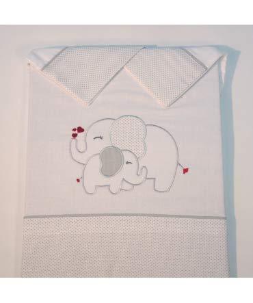 10XDIEZ Juego de sábanas Cuna Franela Elefante Blanco/Gris - Medidas sabanas bebé - Cuna (60x120cm)