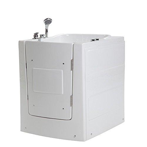 Home Deluxe - Seniorenbadewanne inkl. Whirlpool- Vital L rechts - Maße: 153 x 76 x 64cm - Sitzwanne inkl. komplettem Zubehör | Badewanne mit Tür, Whirlpool-Badewannen mit Einstieg