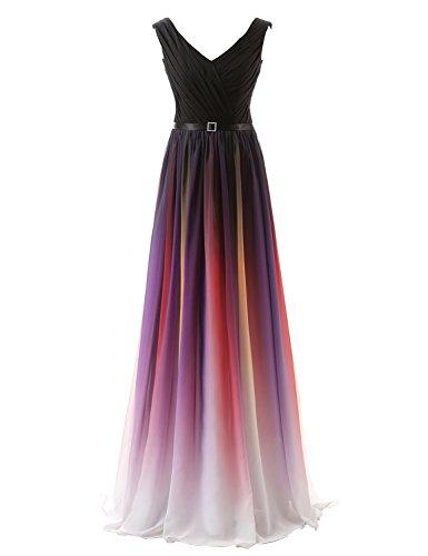 Clearbridal Damen Formale Chiffon Abendkleid Farbverlauf Bandage Maxikleid Brautjungfer Kleid SD341 UK16