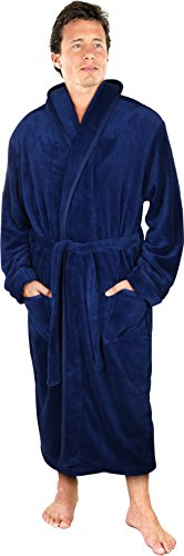 NY Threads Luxurious Men's Shawl Collar Fleece Bathrobe Spa Robe (Navy, S/M)
