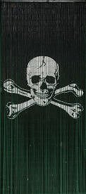 ABeadedCurtain 125 String Pirate Flag Jolly Roger Beaded Curtain Handmade with 4000 Beads (+Hanging Hardware) 38% More Strands and Beads