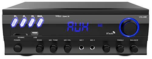 Wiibo Opera 30 -  Amplificador HiFi -  Conexión Bluetooth -  Potencia 30W + 30W -  2 Entradas de Micrófono -  Para Karaoke -  Reproductor USB/SD/MP3 -  Mando a Distancia -  Radio FM -  Equipo de Sonido