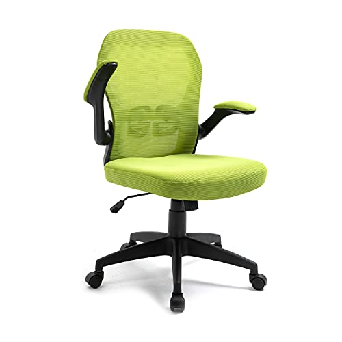 Office Masters Office Chair - Ergonomic Swivel, Folding Arm Rests - Adjustable Height & Mesh Back for Posture & Lumbar Support - Heavy-Duty Computer Desk Seat for Home, Work & Gaming (Green)