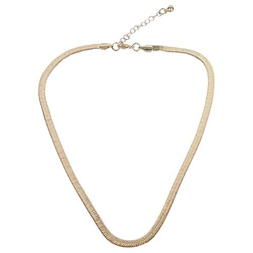 Collar de cadena de espiga de espiga chapado en cadena Gargantilla de cadena de serpiente plana para mujer Gargantilla (dorado)