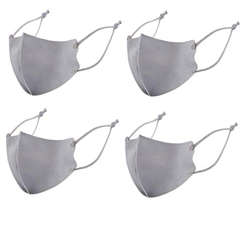 ZHX 4 Stück Kinder Atmungsaktive Mund und nasenschutz Gesichtsschutz Schutzhülle Outdoor Schutztuch staubdicht Winddicht Mund Schal für die persönliche Gesundheit Einstellbar Sportmaske (Gray)