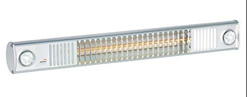 "Infrarotstrahler Terrassen Strahler ""Burda Term 2000"", 2000 Watt - mit eingebautem Licht LED Spots - Alu poliert"