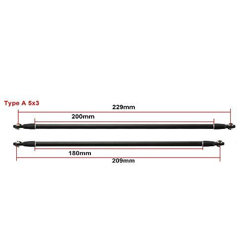 WNJ-TOOL, 6pcs Wurde Kossel Delta Kossel Installierte 5 * 3/6 * 4mm 18 / 20cm Magnethalterung Fiber Carbon-Rod Parallelarms for Mini 5347 for K800 (Größe : Type A 5x3 20cm)