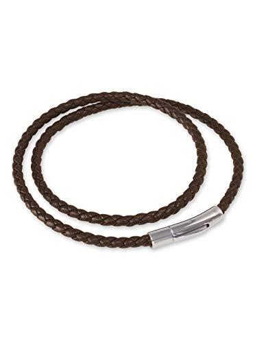 Fly Style Herren Damen Halskette Kunstleder · Lederkette geflochten braun · 3mm I 4mm · 38-70 cm, Längen:ca. 40.0 cm, Stärke:4 mm