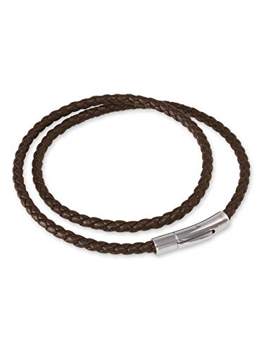 Fly Style Herren Damen Halskette Kunstleder · Lederkette geflochten braun · 3mm I 4mm · 38-70 cm, Längen:ca. 45.0 cm, Stärke:3 mm