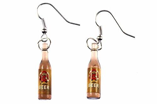 Miniblings Bier Ohrringe Bierflaschen Bierohrringe Pulle Pils Flasche 'Mönch' - Handmade Modeschmuck I Ohrhänger Ohrschmuck versilbert