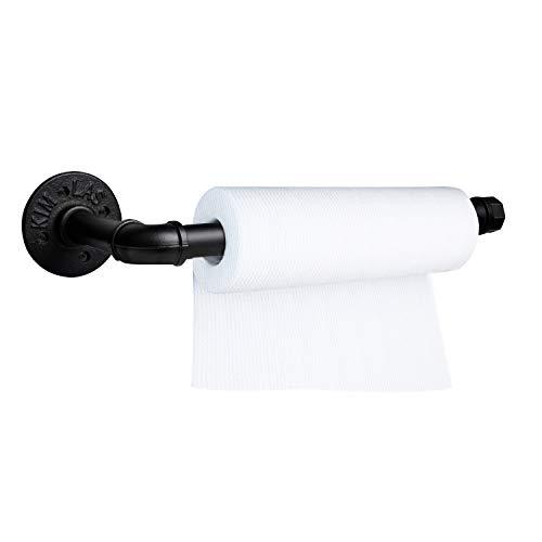 Akamino Toallero de papel negro de 33 cm montado en la pared estilo vintage titular de rollos de papel con accesorios para baño, cocina, encimera