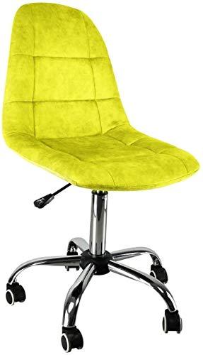 JYHJ Silla ergonómica moderna con respaldo de tela, estilo informal, mesa giratoria de cinco ruedas y sillas, amarillo, verde, color: morado (color: amarillo)