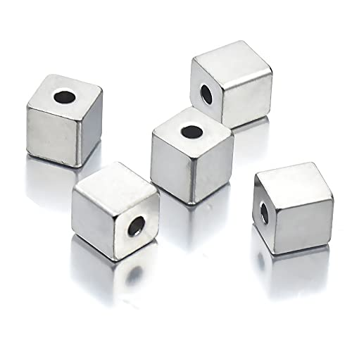 BOSAIYA PJ1 50 unids/Lote 3/4 / 5 / 6mm Hole2mm Cubo de Acero Inoxidable Cubo de Acero Acero Espaciador Cuadrado Perlas Sueltas para Bricolaje Pulsera Joyería Haciendo Material Tl0625 (Color : 5x5mm)