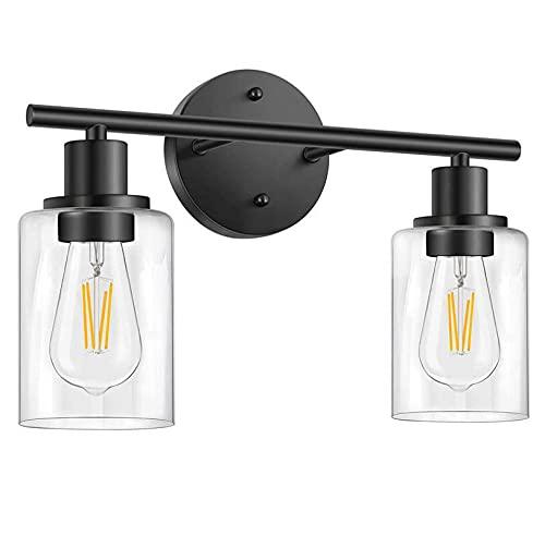 Luz Espejo Baño Retro,2-Luz Lámpara de Baño Negro Mate, With Glass Shade Vintage Industrial Lámpara de Pared para Baño(bombilla no incluida)