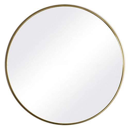 zwhw Espejo Cosmético 40cm, Espejo Plateado Redondo HD, Espejo De Pared Grande, Marco De Aleación De Aluminio + Estante, Estilo Nórdico, para Salón/Dormitorio/Baño, Dorado