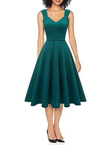 DRESSTELLS Vintage Kleider 50er Jahre Rockabilly Kleid cocktailkleid a Linie Elegante KleiderTurquoise M