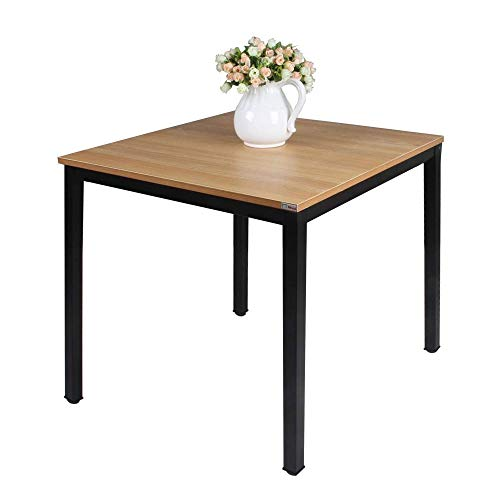 Need Small Square Dining Table- 31-1/2'' Sturdy and Heavy Duty Writing Desk for Small Spaces and Writing Table Desk, Teak Color Desktop & Black Frame AC3BB(8080) Breakroom Table