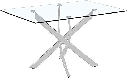 Moderna sala home office salotto tavolo da pranzo rettangolare in vetro,120 x 80 x 75 cm