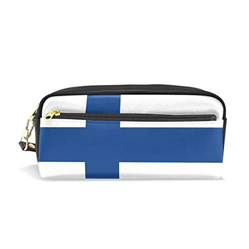 Eslifey Federmäppchen mit Flagge von Finnland aus PU-Leder, für die Schule, Stifteetui, für Kinder, wasserdicht, Kosmetiktasche, Make-up, Kosmetiktasche