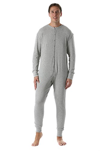 #followme 9393-GRY-L Men's Solid Thermal Henley Onesie, Heather Grey, Large